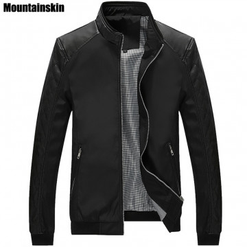 Mountainskin 5XL Spring New Men's PU Patchwork Jackets Casual  Men's Thin Jackets Solid Slim Male Coats Brand Clothing,SA16732788762990