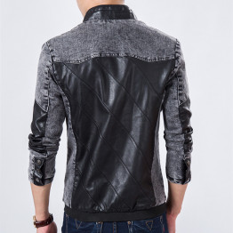 2016 Fall Top Quality Boutique Brand Jeans Jacket Men Slim Fit Male Leather Jacket Casual denim Jackets For Men Chaqueta Hombre