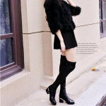 2016 Fashion PU Leather Over Knee Boots Women Sequined Toe Elastic Stretch Thick Heel Thigh High Riding Boots  #HDS194