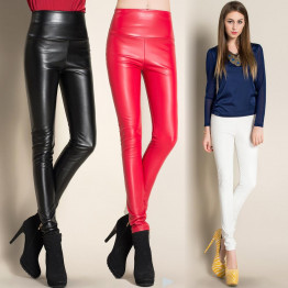 2016 Thicken Winter PU Leather women pants high waist elastic fleece stretch Slim woman pencil pants skinny trousers 25 colors