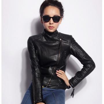 2017 Hot Sale Spring Autumn Fashion Brand Women Faux Leather Jacket Zipper Motorcycle Leather Coat Slim Short PU Jackets32425000257