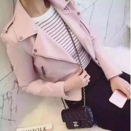 2017 New Spring Fashion Women Motorcycle PU Leather Jackets Female Autumn Short Epaulet Zippers Coat Hot Black pink Outwear