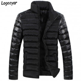 2017 New Winter Men Jackets Men's Coat Fashion Leather Sleeve Spliced Design Outwear Down Cotton Padded Jacket Men Asian M-3XL
