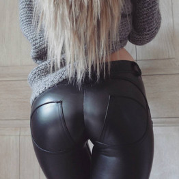 2017 Spring Autumn PU Leather Pants Women Plus Size Sexy Black Skinny Hip Push Up Pants Trousers Women Leggings Mujer Pantalon