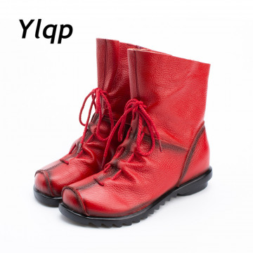 2017 Vintage Style Genuine Leather Women Boots Flat Booties Soft Cowhide Women's Shoes Front Zip Ankle Boots zapatos mujer32713785088