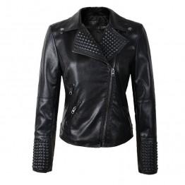 2018 New Arrial Women Autumn Winter Faux Leather Jackets Lady Fashion Rivet Motorcycle Coat Biker Black Silver Gold PInk Outwear
