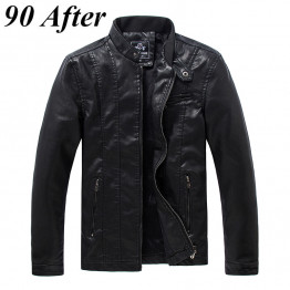 90AFTER Men's New Spring Fashion Casual Leather PU Jacket Mens Leather Coat Plus Cashmere Collar Motorcycle Leather Men Jacket