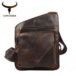 COWATHER 2017 top cow genuine leather versatile casual shoulder men messenger bags for men soild and zipper