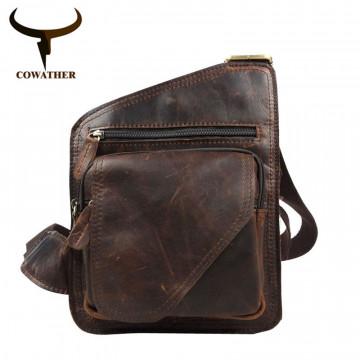 COWATHER 2017 top cow genuine leather versatile casual shoulder men messenger bags for men soild and zipper32252805701