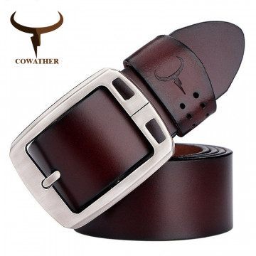 COWATHER cowhide genuine leather belts for men brand Strap male pin buckle vintage jeans belt 100-150 cm long waist 30-52 XF001990702389