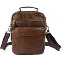 Fashion Crossbody bag Genuine Leather Men shoulder bag Leather men messenger bag male Leisure bag small Sling Handbag tote Brown