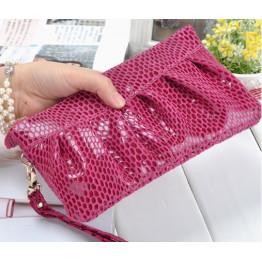 Fashion Serpentine Women's Day Clutch Genuine Leather Handbags Coin Purse Mobile Phone Bag Clutch Bag iphone Case JJY068