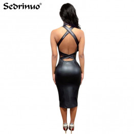 Fashion Women Bandage Club Dress Ladies PU Leather Dress Sleeveless Sexy Party Bodycon backless Clubwear Midi Dress Black 2017