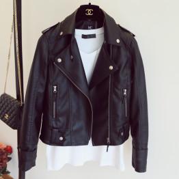 Female 2017 New Design Spring Autumn PU Leather Jacket Faux Soft Leather Coat Slim Black Rivet Zipper Motorcycle Pink Jackets