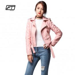 Fitaylor 2017 Spring Autumn Women Faux Soft Leather Jacket Long Sleeve Pink Biker Coat Zipper Design Motorcycle PU Red Jacket