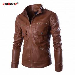 GustOmerD Fashion Brand 2017 Spring Leather Jacket Men Stand Collar Slim Fit Motorcycle Jacket Multi-pocket Mens Leather Jacket