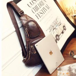 High Quality Men Genuine Leather Cowhide Vintage Sling Chest Back Day Pack Travel fashion Cross Body Messenger Shoulder Bag