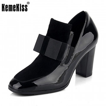 KemeKiss Women Genuine Leather High Heel Boots bowknot Winter Ankle Boots Footwear ladies high heels Shoes R4549 Size 34-43