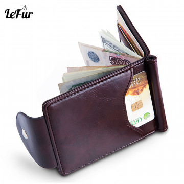 LEFUR Men PU Leather Wallet For Male Card Holder Purse Short Wallet Wallet Hasp Mini Vintage Men Money Holder Purse DropShipping