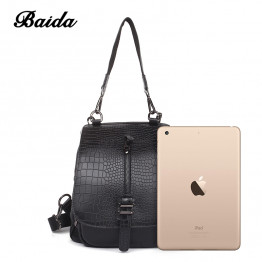 Leisure Women shoulder bag Genuine Leather Satchels Alligator Fashion Ladies Large Capacity Mochilas Dual-use Flip Bags Handbags