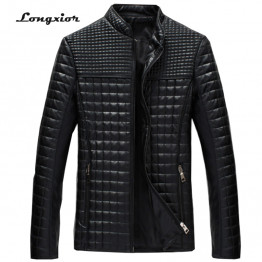 MLJ25 2017 New Arrival Men's Solid Korean Style Fashion Male Casual PU Leather Jacket  Slim Fit Solid Big Size M-5XL Coat men