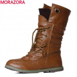 MORAZORA 2017 New fashion motorcycle ankle boots for women spring autumn fashion boots pu leather shoes plus size 34-43