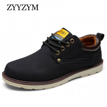 Man Casual Shoes Spring Summer Lace-up Style Pu Leather Flat Fashion Trend Round Toe Men Work Shoe 2017 Hot Sale