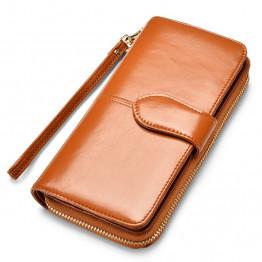 New Brand Women Wallet Dollar Price Lady Party PU Leather Purse Wallet Female Wax Oil Skin Long Zipper Wallet Bills Cion Purse