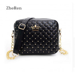 New Rivet Chain Shoulder Bag handbags of High Quality Design Shoulder Bag Female Hot Ladies Handbag PU Leather crossbody