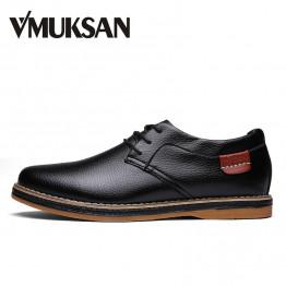 VMUKSAN Men Flats Black Faux Leather Formal Shoe For Man Dress Shoes Round Toe Vintage Italian Mens Oxfords