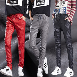 WKOUD 2017 New Arrival PU Leather Pants Women's Fashion Harem Pants Casual Solid Leather Trousers  Loose Capris P8140