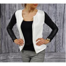 Women PU Leather Casual Zip Long Sleeve Chic Stylish Top Outwear Parka Coat Zipper Patchwork Baseball Jacket LXZ020M XXL