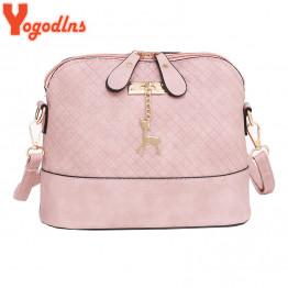 Yogodlns New female bag quality pu leather soft face women bag wild shoulder messenger bag Quilted shell bag pendant cute deer