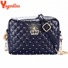 Yogodlns Women Bag Fashion Women Messenger Bags Rivet Chain Shoulder Bag High Quality PU Leather Crossbody Quiled Crown bags