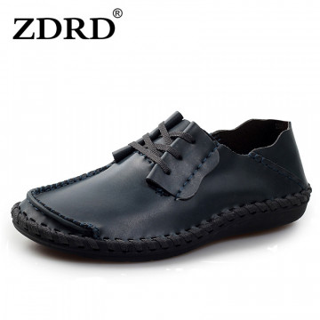 ZDRD 2017 New men's handmade Genuine Leather Creepers Loafers shoe men Lace-Up oxford flats male comfortable huarache boat shoes32398190990